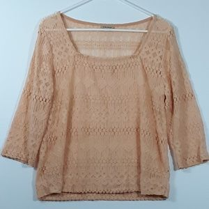 Lucky Brand Lacey Sheer Blouse Boho